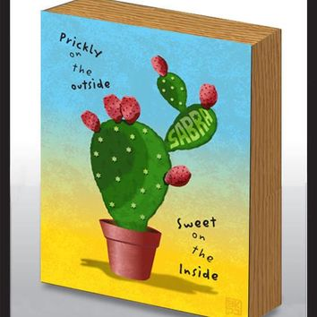 Sabra Cactus Art Wood Panel