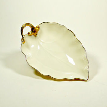 Vintage Porcelain Dish,  Leaf Dish, Vintage Serving Bowl, Leaf Bowl, Collectibles, Leaf Plate, Homedecor, Lenox, USA, Mid Century