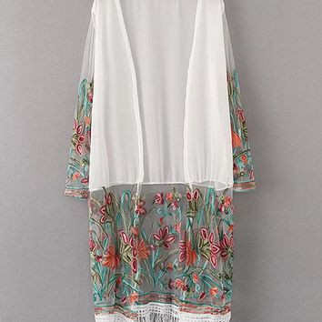 Casual Longline Fringe Patchwork See-Through Embroidery Floral Kimono