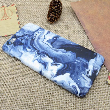 Fashion Tie-dyed Blue Marble Stone Cover Case For iPhone 7 se 5s 6 6s Plus Best Gift