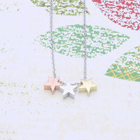 Three stars  necklace /  pink rose gold , silver and  gold stars necklace