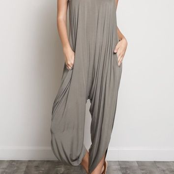 Drea Draped Modal Jumpsuit in Olive