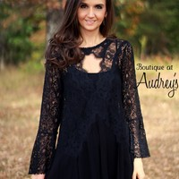 Umgee Long Sleeve Black Lace Top with Keyhole Neckline