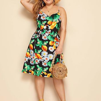 Plus Fruit & Floral Print Cami Dress