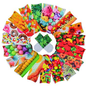 Weed Marijuana Donut Candy Flowers Fries Socks Funny Crazy Cool Novelty Cute Fun Funky Colorful