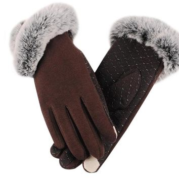2017 Touch Unique Screen Cotton Warm Winter Gloves Velvet Women Outoor Christmas Slim Elegant New Fashion Glove Hot Sale