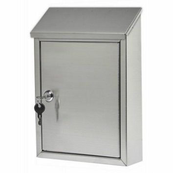 Gibraltar AWM00SS0 Ashley Vertical Wall Mount Security Mailbox, Stainless Steel