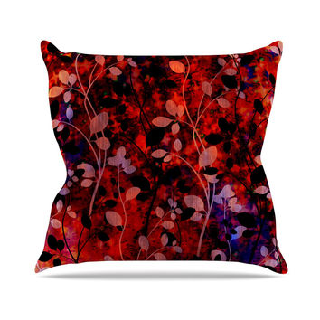 "Ebi Emporium ""Amongst the Flowers - Summer Nights"" Red Black Outdoor Throw Pillow"