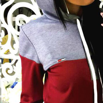 Fashion Long Sleeve Splicing Show Thin Casual Sports Hooded Suit