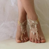 Beach Wedding Barefoot Sandals Lace Shoes,Wedding Shoes,Champagne Lace Sandals,Bridal Lace Shoes,Foot Jewelry