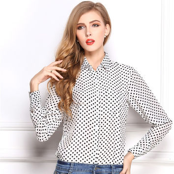 Office Lady Polka Dot Long Sleeve Female Elegant Shirt