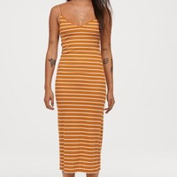 Ribbed Jersey Dress - Dark yellow/white striped - | H&M US