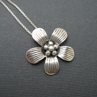 Sterling Flower Necklace Pendant