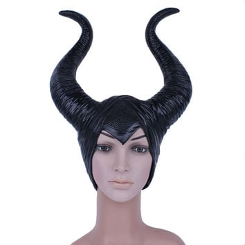 2015 Novelty Creepy Trendy Genuine Latex Maleficent Horns Adult Women Halloween Party Costume Jolie Cosplay Headpiece Hat