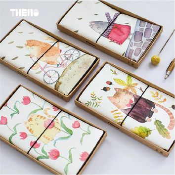 Cute Cat PU Leather Cover Planner NotebookTravel Journal Diary Book Exercise Composition Binding Note Notepad Freeshipping