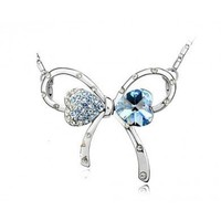 Blue Bowknot Swarovski Crystal Pendant Sterling Silver Necklace