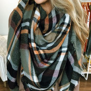 Autumn Leaves Blanket Scarf- Olive, Orange, Burgundy