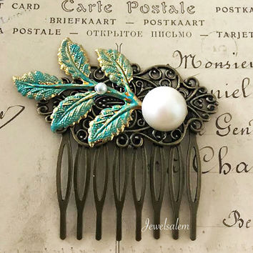 Bridal Hair Comb Turquoise Aqua Wedding Hair Comb Pearl Hair Slide Bridesmaid Gift Teal Green Hair Accessories Rustic Woodland Wedding