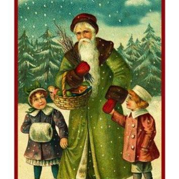 Victorian Father Christmas Santa With Small Children in the Snow Counted Cross Stitch or Counted Needlepoint Pattern