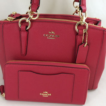 New Authentic Coach F57523 Mini Christie Carryall Satchel Shoulder Bag in Bright Pink+ Wallet Set