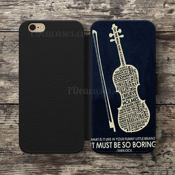 sherlock violin Wallet Case For iPhone 6S Plus 5S SE 5C 4S case, Samsung Galaxy S3 S4 S5 S6 Edge S7 Edge Note 3 4 5 Cases