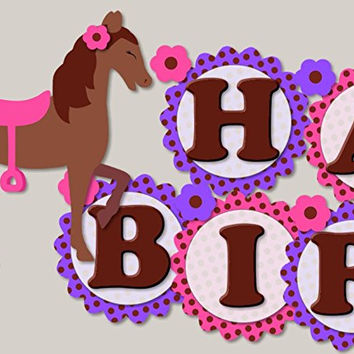 "Pink and Purple Girl Horse ""HAPPY BIRTHDAY"" Banner"