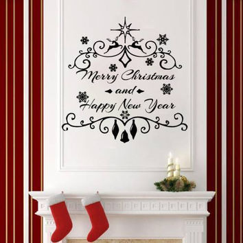 Christmas Wall Decals Holiday Decor Vinyl Stickers Decoration Home Decor SM214