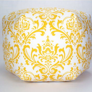 "24"" Floor Ottoman Pouf Yellow & White - Damask Contemporary Modern Print"