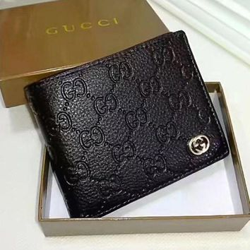 PEAP1 GUCCI Men Fashion Leather Purse Wallet