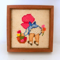 Vintage Needlepoint, Baby Girl Nursery Decor, Girl with Flowers   in Wood Frame, Baby Girl Bonnet Flowers Embroidery