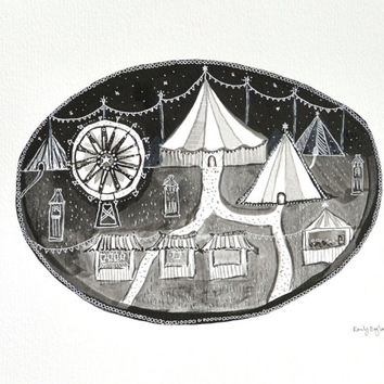 Night Carnival, 12 by 10 Carousel, Circus Night, Black & white nursery decor, gothic carnival, monochrome fairground, Original Ink Painting