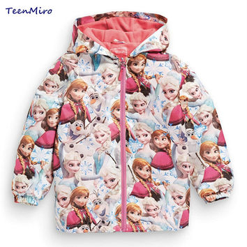 Kids Toddler Girl Jacket Elsa Coat Costume Hooded Anna Snow Queen Windbreaker for Children Outerwear baby blazer Clothing minnie