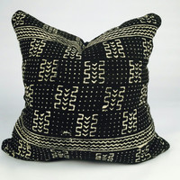 Custom Sizes Black with White African Mudcloth Pillow