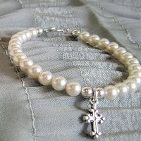 Childs Ivory Pearl Bracelet - Cross - Only 4 Available