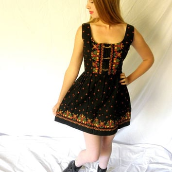 Sexy Authentic 1960s German Dirndl Dress Oktoberfest Ethnic Folk Vintage Black Mini Dress Made in Germany Size 38 Jackpot Jen