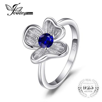 JewelryPalace Flower 0.34 ct Created Blue Sapphire Anniversary Engagement Rings For Women Solid 925 Sterling Silver Fine Jewelry