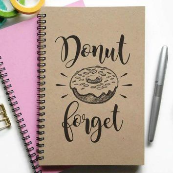 Writing Journal Spiral Notebook Bullet Journal Sketchbook Lined Blank Or Grid Custom Personalized   Donut Forget Doughnut To Do List