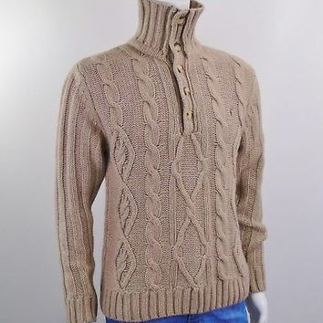 GENTLEMAN FARMER Mens Cableknit Pull Sweater Sz M Button Stand Collar Taille 2