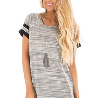 Heather Grey Two Tone Tee with Black Striped Sleeve Detail