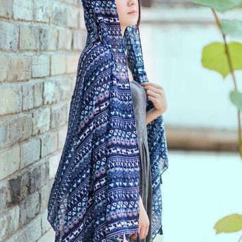 Women Vintage little deer Printed Tassel Scarf Quality Big Size Cotton Voile Scarf navy color christmas gift