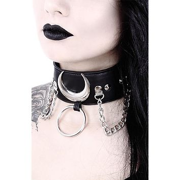 Silver Luna Crescent Moon Black Faux Leather O-Ring Collar Wide Choker necklace
