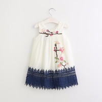 Embroidery Children summer Clothes floral Infant fashion spring Vestidos