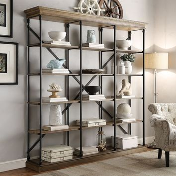 HomeVance Cresthill Wide Bookshelf (Brown)