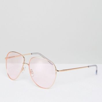 ASOS Metal Aviator Sunglasses in Rose Gold with Pink Coloured Lens at asos.com