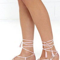 Beach Basics Nude Flat Lace-Up Sandals