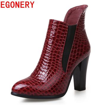 EGONERY shoes 2017 new casual women fashion riding equestrian spike high heels ankle boots elegant platform round toe shoes
