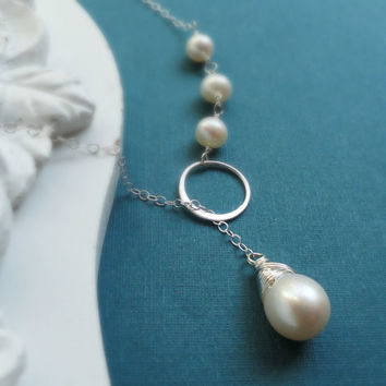 Freshwater pearl Lariat Necklace, bridesmaid gifts, Eternity circle, Sterling silver, Bridesmaid necklace, wedding jewelry, bridal necklace