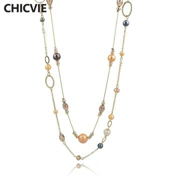 CHICVIE Long Natural Stone Beads Necklaces & Pendants for Women Statement Gold Color Ethnic Jewelry Vintage Accessories Collier