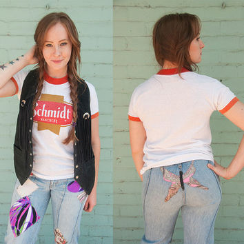 70s Paper Thin Schmidt Beer Tee | 80s Vintage Soft White and Red Ringer TShirt | RARE grunge retro trashed 50/50 Desert western beer shirt