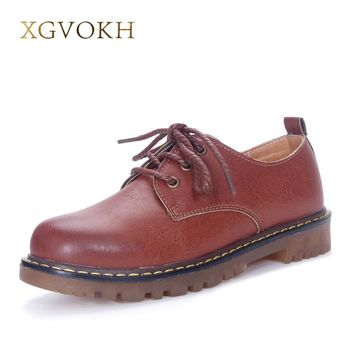 XGVOKH Brand Handmade women's shoes leather Platform casual Flats Spring Autumn Fashion Solid Lace-Up Dress Women Moccasins